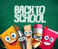 Back to school vector banner with school characters in green background. School items cartoon mascots with funny faces for education elements. Vector stock illustration