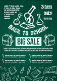 Back to School vector big sale offer poster. Back to School Big Sale or special offer poster for autumn august or september school shopping promo discount Royalty Free Stock Image
