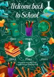 Back to School vector chalkboard pattern poster. Welcome Back to School poster of school bag or lesson stationery pattern on green chalkboard. Vector book or Royalty Free Stock Images