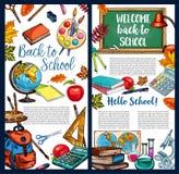 Back to School vector chalkboard sketch poster. Back to School poster of sketch school bag and lesson stationery and green chalkboard. Vector chalk, school book Stock Images