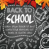 Back to School vector chalkboard study poster. Back to School poster of school bag or lesson stationery chalk on black chalkboard. Vector school globe or pen and Royalty Free Stock Images