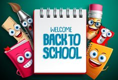 Back to school vector characters background template with white empty space Stock Image