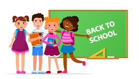 Back to school vector concept illustration with cheerful children cartoon characters gathering near green board isolated. On white background. Smiling Happy stock illustration