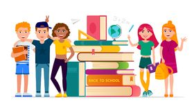 Back to school vector concept illustration with cheerful children cartoon characters gathering at stack of books vector illustration