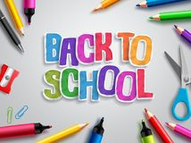 Back to school vector design with colorful paper cut text, education elements and school supplies Stock Image