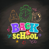 Back to school vector design with colorful texts and education related. Drawing elements in textured black background. Vector illustration Royalty Free Stock Image