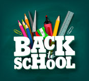 Back to school vector design with 3d title and school items. And elements in green chalkboard background. Vector illustration vector illustration