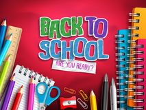 Back to school vector design with education elements, school supplies and colorful paper cut. Back to school text in red background. Vector illustration vector illustration