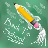 Back to school. Vector design template for Back to school. Wrinkled paper, school supplies icons red sharp wooden pencil and Back to School text vector illustration