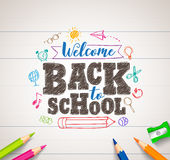 Back to school vector drawing in white paper with colorful crayons Stock Photography