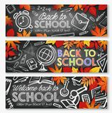 Back to School vector education season banners. Back to School September education season banners of school lessons stationery and books. Vector school bag Stock Image