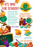 Back to School vector education season poster. Back to School September education season poster of school science lessons, stationery and books. Vector school Stock Image