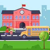 Back to school, vector flat illustration. School building, yellow bus and children. Pupils with backpacks and books vector illustration