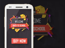 Back to school vector graphic with supplies Royalty Free Stock Images