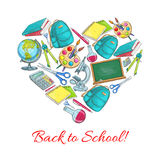 Back to School vector heart poster stock illustration