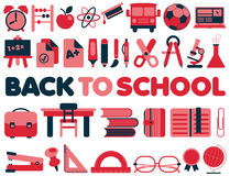Back to School - Vector Icons. Collection in red and dark blue colors set Stock Image