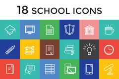 Back to school 16 vector icons set. Science. Objects, or university and college symbols. Stock design elements Royalty Free Stock Photos