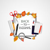 Back to school. Vector illustration. Abstract concept with scissors, notebook, magnifying glass, pencil, ruler, eraser Royalty Free Stock Image