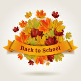Back to school. Vector illustration with banner and colorful autumn maple leaves Stock Images