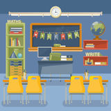 Back to school vector illustration. Classroom with desk, chalkboard and chair. Stock Photo