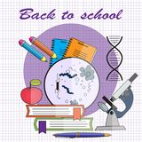 Back-to-school-vector-illustration-in-flat-style-microscope-with-spiral-of-the-DNA-pile-of-books royalty free illustration