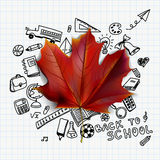 Back to school. Vector illustration with hand drawn school supplies doodles and red maple leaf Royalty Free Stock Images