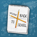 Back to School Vector Illustration with Handdrawn icons on a Cha Royalty Free Stock Images