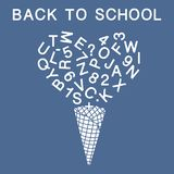 Back to school. Vector illustration with ice cream cone, letters, numbers. Vector. Back to school. Vector illustration with ice cream cone, letters, numbers vector illustration