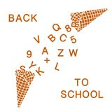 Back to school. Vector illustration with ice cream cones, letters, numbers. Vector. Back to school. Vector illustration with ice cream cones, letters, numbers stock illustration