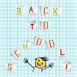 Back to school - vector illustration. Vector inscription Back to school from 3D volume parer cubic letters on the school sheet of paper Stock Images