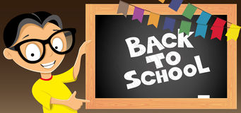 Back to school. Vector illustration. Back to school. Learner and blackboard Stock Images
