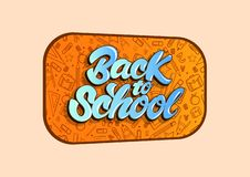 Back to school vector illustration in lettering style. Vector illustration design stock illustration