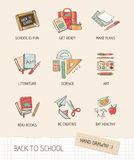 Back to school. Vector illustration on notebook paper, hand drawn school supplies, books, stationery Stock Photos