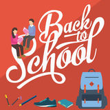 Back to school vector illustration pencil college students reading books Royalty Free Stock Photo