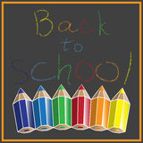 Back to school. Vector illustration of pencil text back to school on the green background Royalty Free Stock Photography