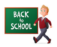 Back to school vector illustration. Proud and cheerful pupil in school uniform walking next to blackboard. Back to school. Proud and cheerful pupil in school Royalty Free Stock Photo