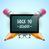 Back to school. Vector illustration. School background template with tablet, eyeglasses and two pencils. Back to school text. Post stock illustration