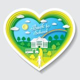Back to school vector illustration. School poster with building, school bus, nature background, text signs. Welcome and Royalty Free Stock Photography