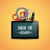 Back to school. Vector illustration. School tablet mock up. Poster design concept. School supplies on yellow . Back to school. Vector illustration. School Stock Photography