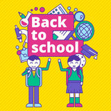 Back to school vector illustration template design. Education el Royalty Free Stock Images