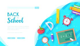 Back to school vector landing page template. Office supplies online store web banner design. Stationary seasonal sales advertising. Distance courses, lessons royalty free illustration