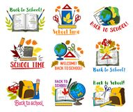 Back to School vector lesson stationery icons. Welcome Back to School icons set of school bag and lesson stationery. Vector isolated pen, chemistry book or Royalty Free Stock Photography