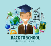 Back to school vector logo design template Royalty Free Stock Image