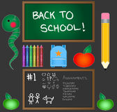 Back To School Vector Pak. All vectors are individually grouped and can be scaled to any size. Contains two black boards, backpack, inchworm, pencil, crayon Royalty Free Stock Images