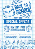 Back to School vector sale offer poster Royalty Free Stock Images