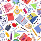 Back to school vector seamless pattern. Colorful education stationery supplies and tools. Fashion print background. Back to school vector seamless pattern stock illustration