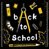 Back to school vector set on black. Back to school yellow set on black, vector illustrtion for your design Royalty Free Stock Photos