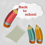 Back to school. Vector set of colored pencils with cloud and sheet scraps royalty free illustration