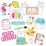 Vector set of education icons in kawaii style royalty free illustration