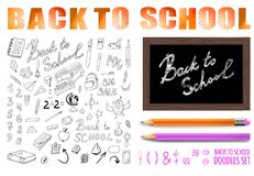 Back to school VECTOR set with realistic colored and simple pencil. Doodle drawings collection Royalty Free Stock Images